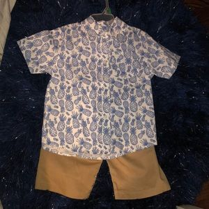 Other - 2 piece boys button up blouse and short set